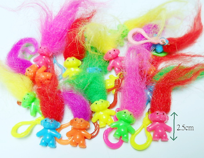 12 Pc Colorful Lucky Troll 2.5cm Plastic Clip Fun Birthday Party Favor Game Vending Gift Pinata Bag Filler Loot Gag Novelty