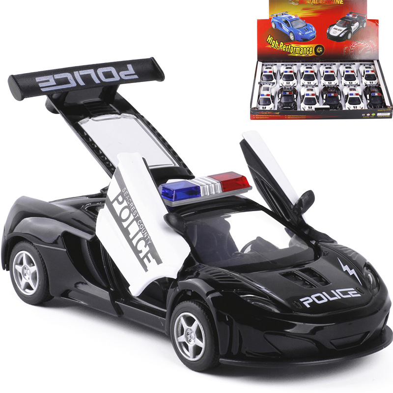 new arrival 132 kids toys police car cool metal toy cars model for children music pull back cars miniatures gifts for boys