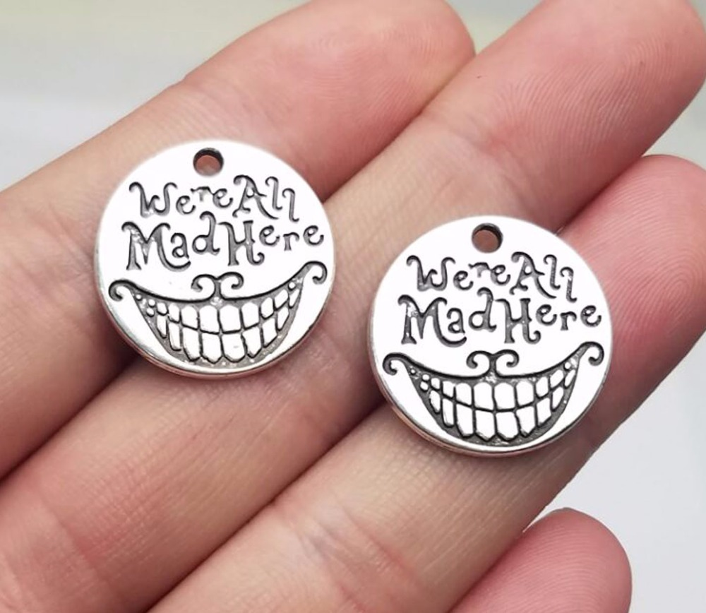 15pcs we are all quite mad here you/'ll fit right in Silver tone charm 20mm