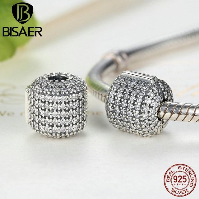 Authentic 925 Sterling Silver Stopper Pave Barrel, limpar cz clipe encantos fit pandora bracelet mulheres belas jóias de prata europeu