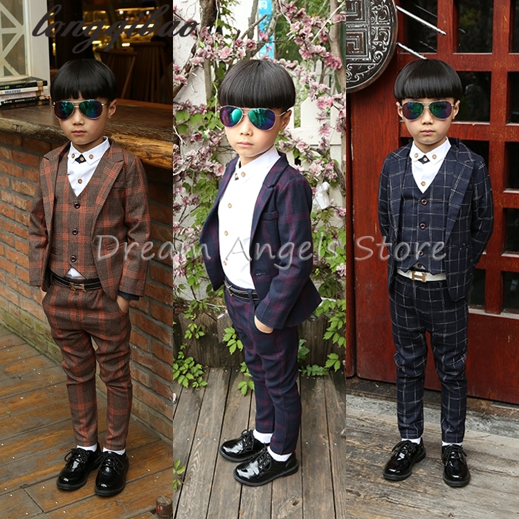 (Jackets+Vest+Pants+Shirt)Boy Suits Flower girl Slim Fn Dress Wedding Candy colors Suits Blazeit Tuxedo Brand Fashion Bridegroor