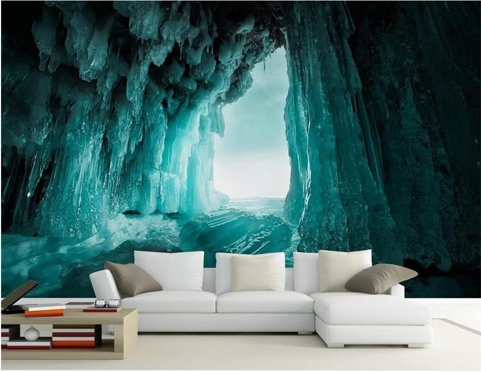 custom 3d photo wallpaper mural living room ice cave landscape 3d painting sofa TV background wall non-woven wall sticker 3d photo wallpaper custom room mural non woven sticker retro style bookcase bookshelf painting sofa tv background wall wallpaper