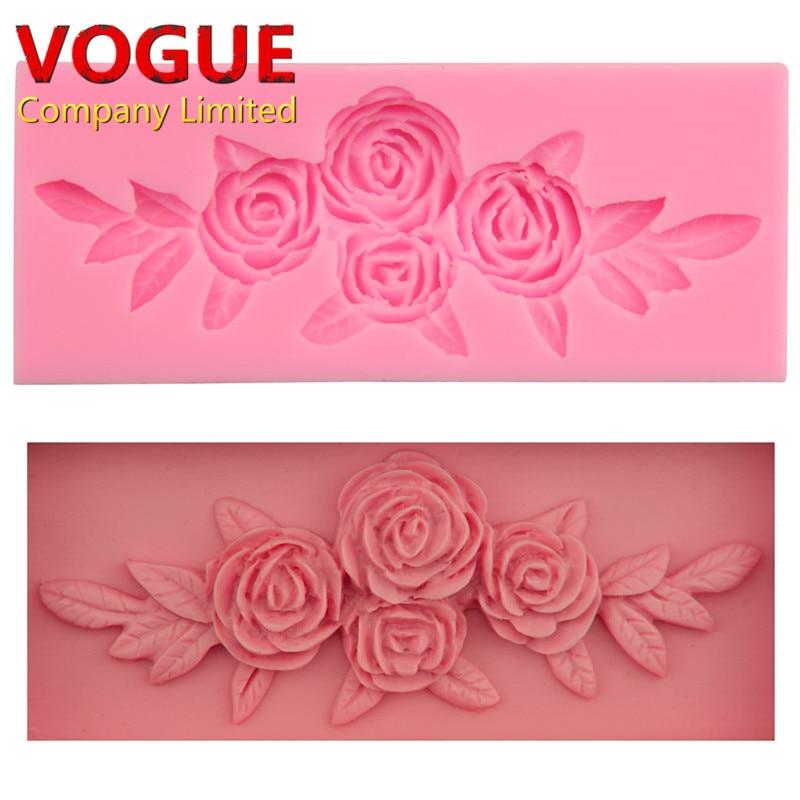 Encantadora hermosa flower rose bouquet modelado fondant molde de silicona acces