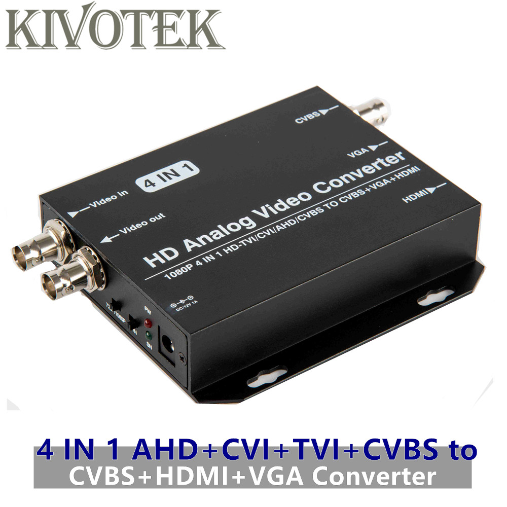 AHD+CVI+TVI+CVBS to CVBS+HDMI+VGA Adapter Converter,Loop Output 1080p Connector,V1.0/2.0,NTSC/PAL For TV Computer Free Shipping-in Computer Cables & Connectors from Computer & Office