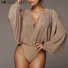 AOSSILIND Deep V Neck Patchwork Sexy Loose Bodysuit 2019 Spring Women Long Sleeve Rompers Casual Party Club Bodysuits