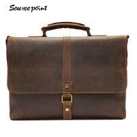 YISHEN Vintage Genuine Leather Top Handle Bags Men Fashion Business Briefcase Large Capacity Men Shoulder Crossbody