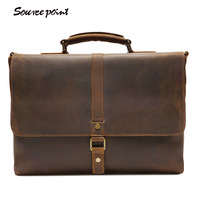 YISHEN Vintage Genuine Leather Top Handle Bags Men Fashion Business Briefcase Large Capacity Men Shoulder Crossbody