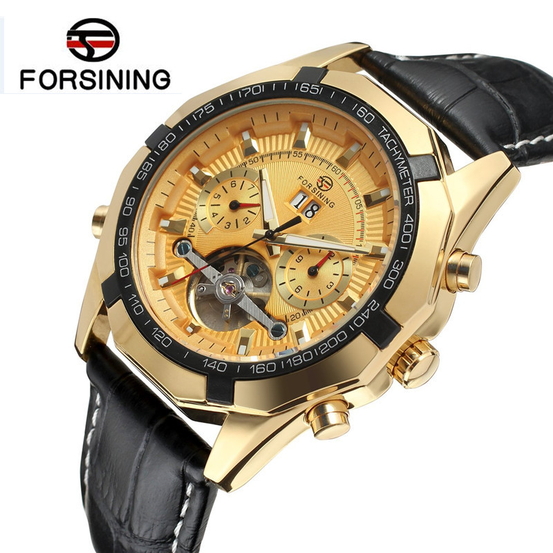 Forsining Watch Men's Montre Homme Day/Week/24Hours Tourbillion Auto Mechanical PU Leather Watches Wristwatch Gift Box Free Ship fosining luxury montre homme watch men s auto mechanical moonpahse genuine leather strap watches wristwatch free ship
