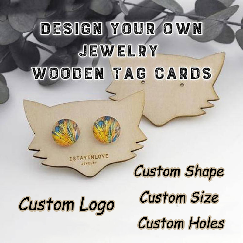 Wooden Rectangle Custom Earring Cards,Earring Holder,Earring Display,Logo Necklace Jewelry Packaging Displays Holder Earring Tags WTG026