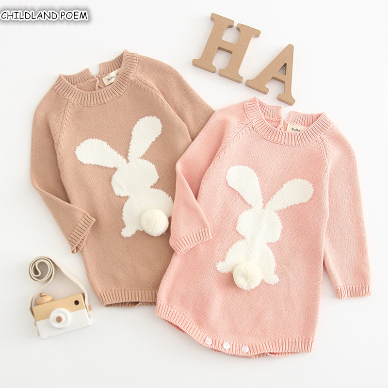 Baby Knitted   Romper   2019 Spring Bunny Baby   Rompers   Newborn Baby Girl   Rompers   Clothes 100%Cotton Long Sleeve Infant Baby Jumpsuit