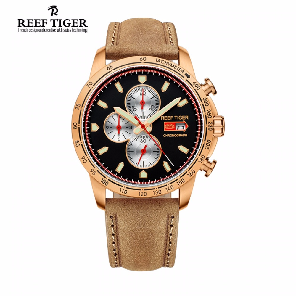 Reef Tiger Luxury Brand Sport Watch Men Chronograph Quartz Italian Calfskin Leather Waterproof Luminous Watch Relogio Masculino reef tiger brand men s luxury swiss sport watches silicone quartz super grand chronograph super bright watch relogio masculino