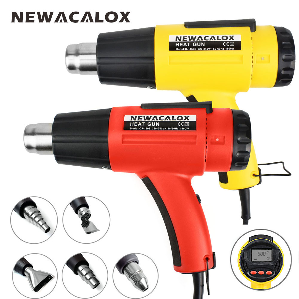 NEWACALOX 1500W Digital Heat Gun 220V EU Electric Thermoregulator LCD Display Hot Air Gun Shrink Wrapping