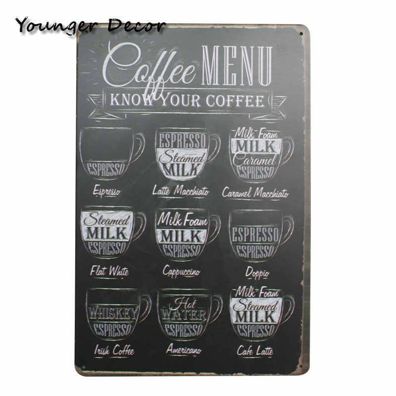 Cafe Kaffee Menü Decor Tee Für Alle Gründe Metall Zeichen Vintage Hause Dekorative Bar Cafe Hotel Hängen Wand Kunst Malerei YA079