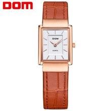 DOM femmes en cuir montre en or marque de luxe étanche style quartz Carré montres G-1089