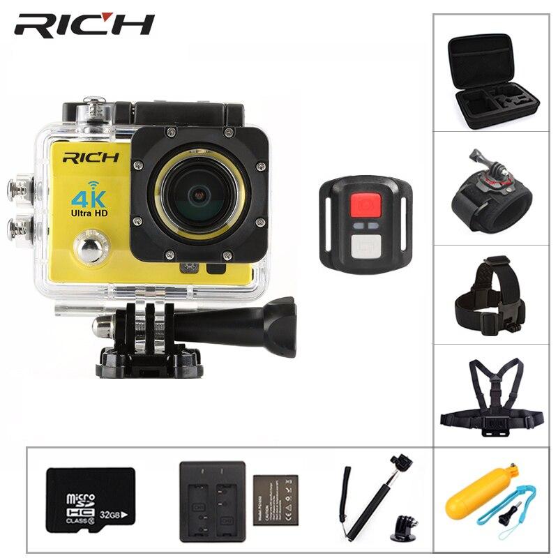 RICHE 4 k Wifi Caméras D'action 170D Large Lentille HD 1080 p 30 m Caméra Sous-Marine Aller Étanche Pro Sport DV Casque De Vélo action Cam