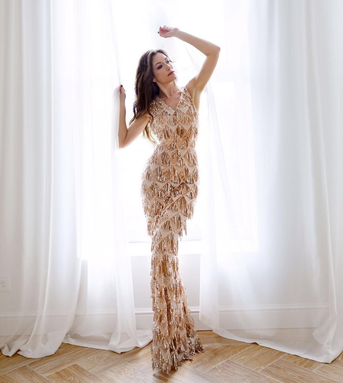 YIDINGZS 2019 Sexy col en v gland Sequin sans manches robe de soirée femmes élégante longue robe de soirée - 5