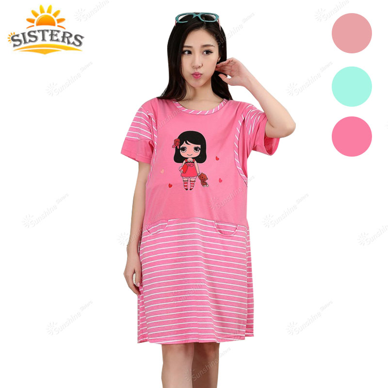 Maternity Women s Jersey Dress Pyjama Breastfeeding Nightwear Pregnant Top Clothes for pregnant Women Pregnancy Dress