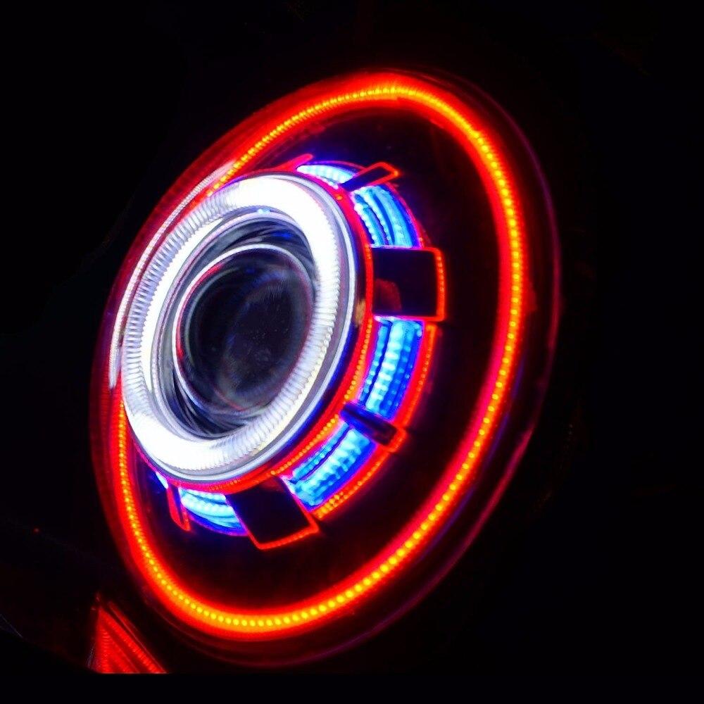 2PCS SET 7 Inch HID Headlight Hi/Low Beam Headlamp with COB Angel Eyes demon eye for Jeep Wrangler 2007-2015