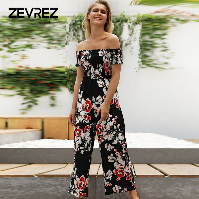 a91cae77036 Sexy Romper Women Off Shoulder Floral Print Jumpsuit Casual Playsuit Summer  Beach Long Pants Trousers wide