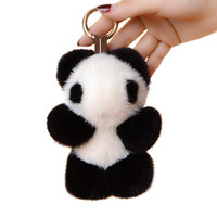 Fluffy Cute Panda Animal Deluxe Mink Fur Keychain Authentic Pom Pom Keychain Women's Pendant Car Charms Pendant Holder Keychain