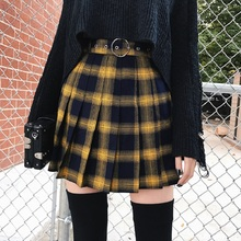 Womens Plaid Short Tennis Skirt High Waist Fitness Yellow Black Pleated Punk