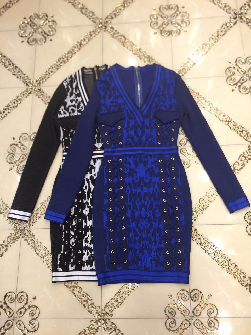 Del Mini Di Fasciatura Scollo All'ingrosso Elegante A Aderente Con V Dalla Da Alta Vestito Blu Nero Rayon Qualità Partito Manica Lunga AOCqTwO