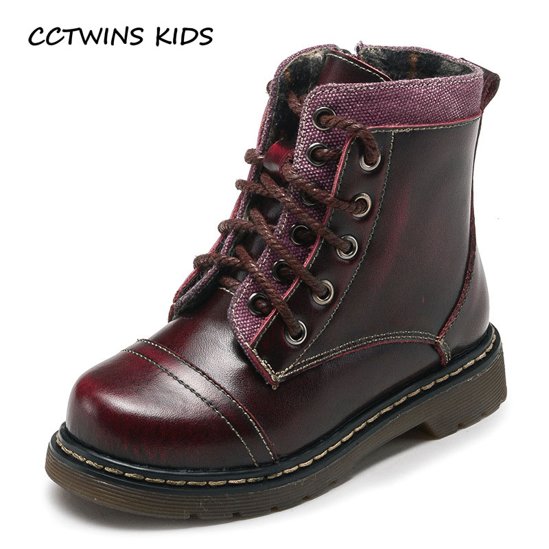 CCTWINS KIDS 2017 Toddler Boy Fashion Black Shoe Children Genuine Leather Martin Boot Kid Baby All