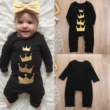 2016 Newborn Baby Girls Boys Long Sleeve Crown Print Romper Jumpsuit Clothes
