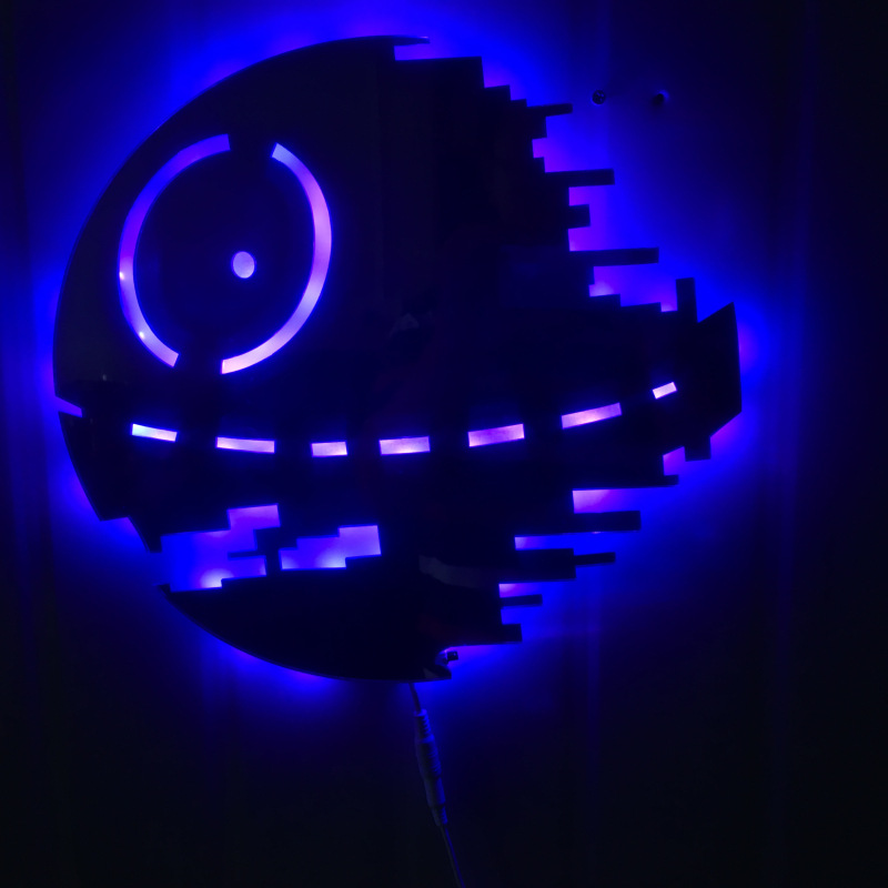 Star Wars Death Star 3D Led Wall Lamp Night Light Creative Novelty Toy RGB 7 Color Changing Action Figure creative 3d visual color changing led touching night light
