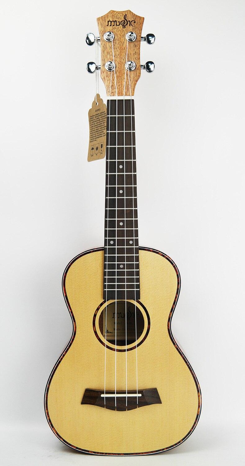 Guitare acoustique SevenAngel 23 pouces ukulélé épicéa acajou 4 cordes ukelele électrique avec micro EQ reliure celluloïd rouge - 2