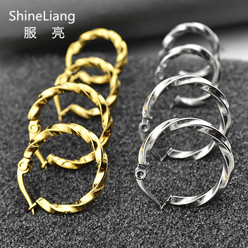 Hoop Earrings For Men Women Wholesale Small Round Circle Stainless Steel Fashion Jewelry Brand Gold Silver Nose Lip Rings Ear
