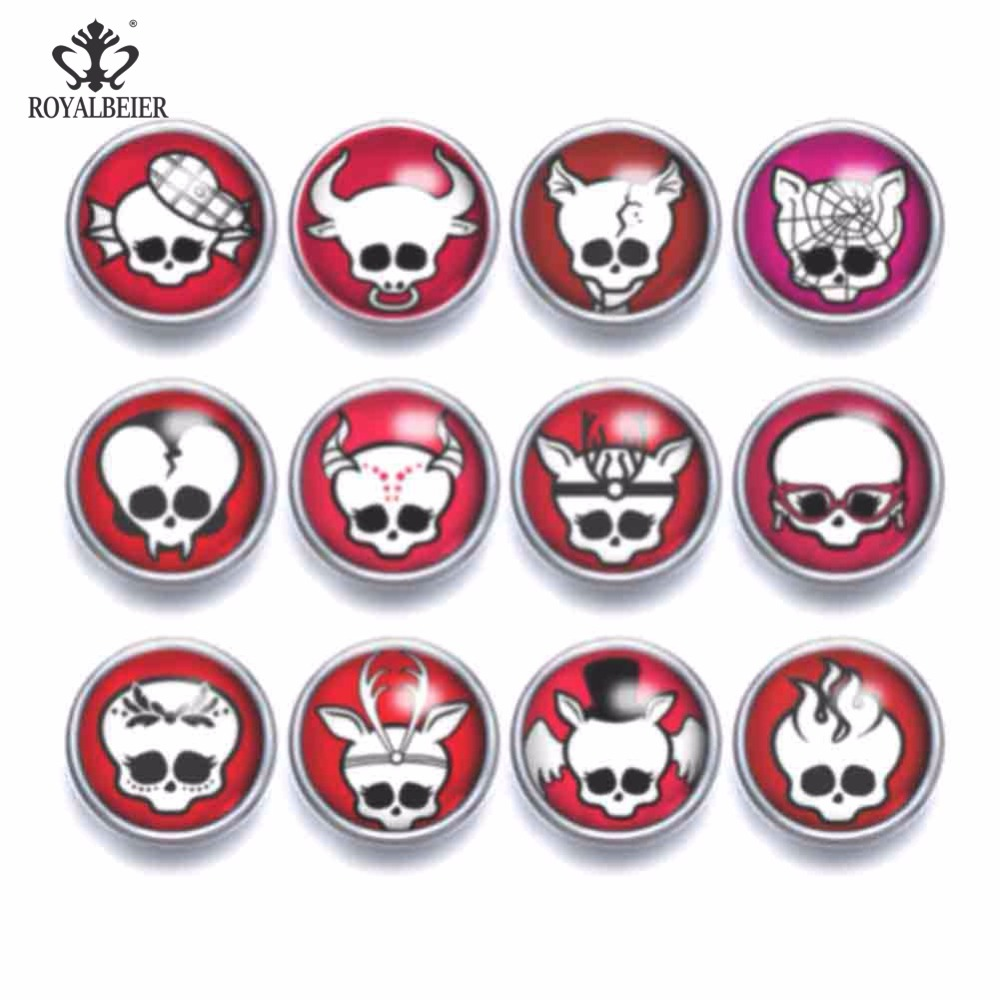Flight Tracker 12pcs Glass Charms 12mm Snap Button Cute Skull&skeleton Theme Fit Snap Bracelet 12mm Snap Earrings Snap Jewelry Kz0948