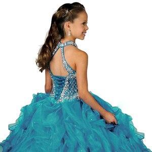Image 2 - Halter fancy little girls spettacolo del vestito lungo abiti di sfera per i bambini lungo del vestito da promenade vestido menina principessa delle ragazze del vestito 2  12 anni