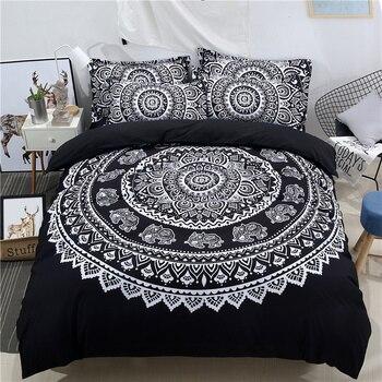 Комплект постельного белья в богемном стиле с 3D рисунком, белый, черный, синий, 3/4 шт., двуспальный, двуспальный, для взрослых и детей, пододея