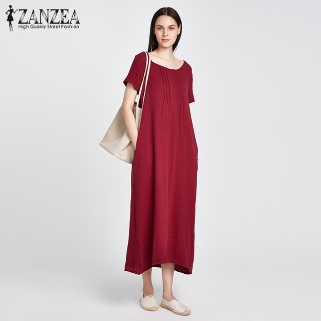 Zanzea 2018 verano mujeres retro suelta Vestidos sólido casual manga corta  o Masajeadores de cuello bolsillos 716be087d48
