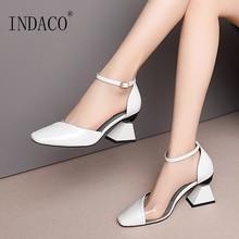 Shoes Women High Heels Sandals Patent Leather Ladies Sandals Buckle Ankle Strap Pumps Thick Heels Sqare Toe недорого
