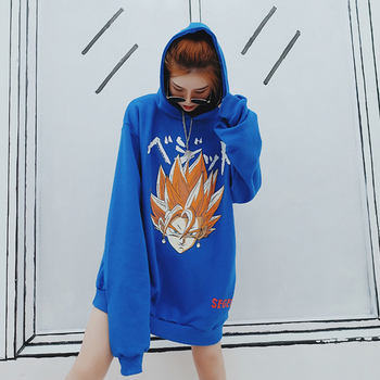 Autumn Street Oversize Cotton Women Anime Hoodies Dragon Ball Print Swag Tyga Black Blue Clothing