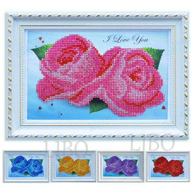 diy resin square diamond cross stitch full embroidery kit rose kits painting 30*21cm new style tweezers, pick-up tools jewel