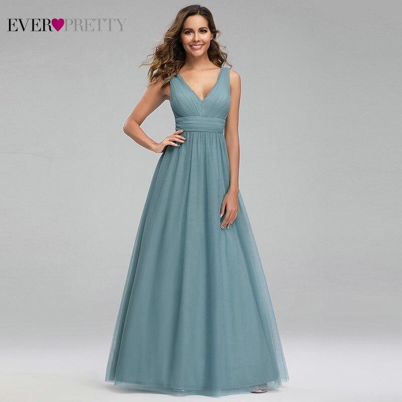 Elegant Dusty Blue Bridesmaid Dresses Ever Pretty EP00925DB A-Line V-Neck Tulle Sexy Wedding Guest Dresses Sukienka Wesele 2019