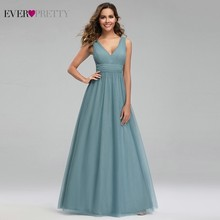 Elegant Dusty Blue Bridesmaid Dresses Ever Pretty EP00925DB A-Line V-Neck Tulle Sexy Wedding Guest Dresses Sukienka Wesele 2019 цены