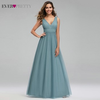 Elegant Dusty Blue Bridesmaid Dresses Ever Pretty EP00925DB A-Line V-Neck Tulle Sexy Wedding Guest Dresses Sukienka Wesele 2020