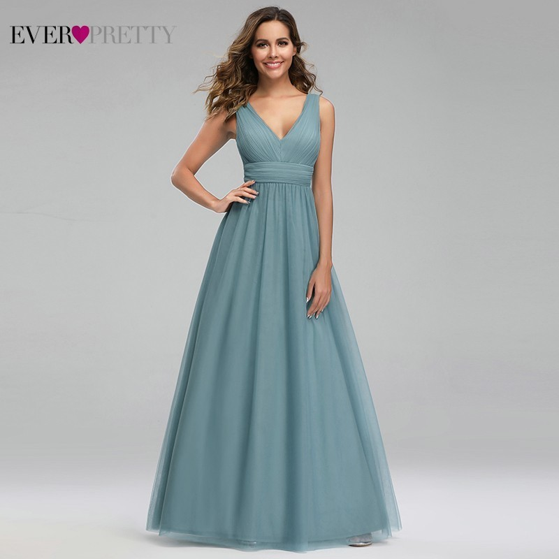 Elegant Dusty Blue   Bridesmaid     Dresses   Ever Pretty EP00925DB A-Line V-Neck Tulle Sexy Wedding Guest   Dresses   Sukienka Wesele 2019