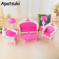 1 6 Dollhouse Furnitures Plastic Vintage Sofa For Barbie Doll Couch Desk Lamp For Monster High