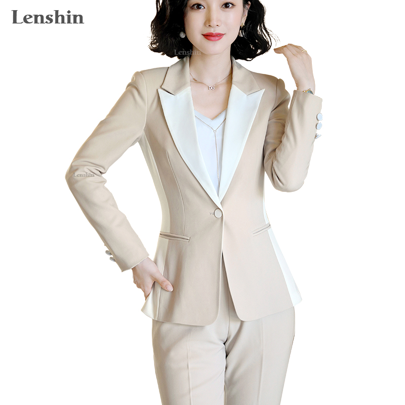 Lenshin High Quality 2 Piece Set Contrast Formal Pant Suit Blazer Office Lady Uniform Designs Women Business Jacket And Pant