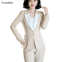 Lenshin High Quality 2 Piece Set Contrast Formal Pant Suit Blazer