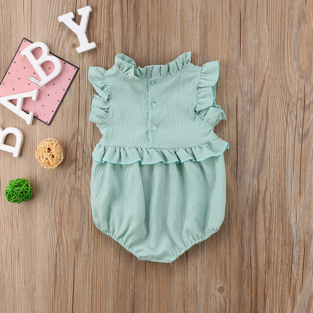 Baby Girls Sleeveless Ruffles Romper Jumpsuit Outfits Summer