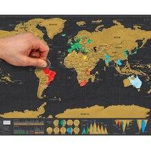 1個デラックス消去黒の世界地図のための世界地図パーソナライズ旅行スクラッチマップルームの家の装飾壁ステッカー