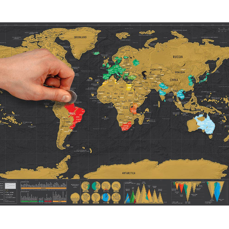 1pcs Deluxe Erase Black World Map Scratch off World Map Personalized Travel Scratch for Map Room Home Decoration Wall Stickers-in Wall Stickers from Home & Garden