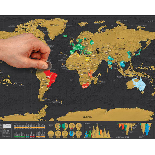 1pcs deluxe erase black world map scratch off world map personalized 1pcs deluxe erase black world map scratch off world map personalized travel scratch for map room gumiabroncs Images