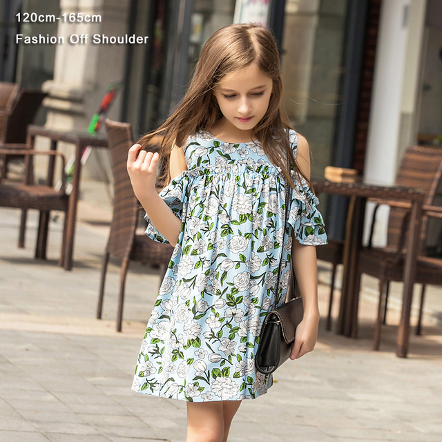 Teen Girls Dress Chiffon Floral Print Drop Sleeve Summer Cute Kids Girls Princess Dress 120 130